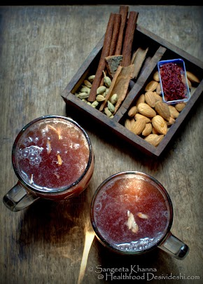 kahva or qahva : a nice warming Kashmiri tea infused with cinnamon, green cardamom and almonds