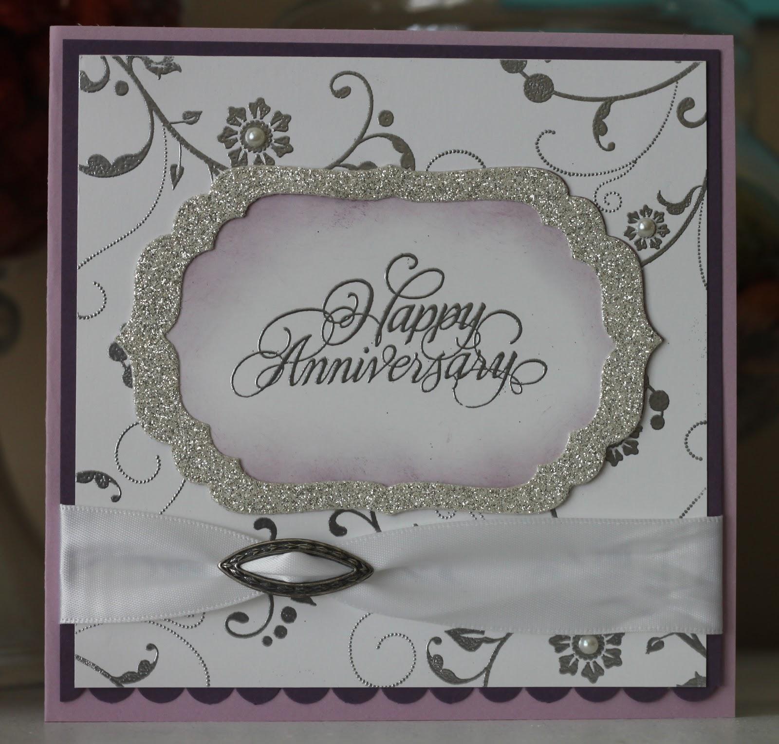 Stamp stitch create th anniversary card