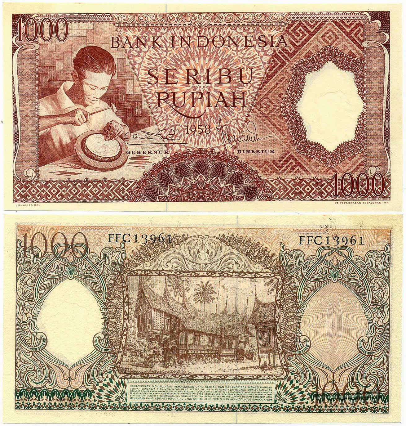 uang kuno Seri pekerja tangan tahun 1958 pecahan 1000 rupiah Merah