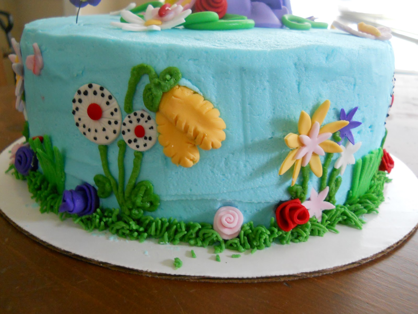 flower garden and western themed 1st birthday cake - Garden Design Birthday Cake