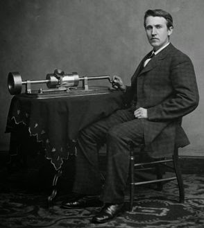thomas alva edison with phonograph