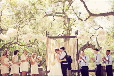 outdoor cream wedding ceremony