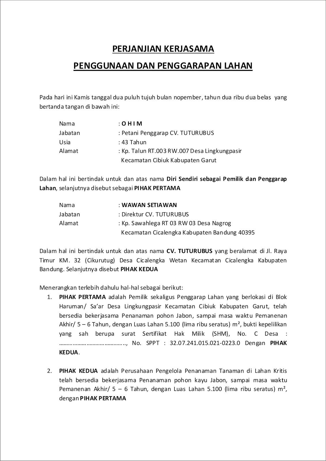 Gerakan Nusantara Hijau Contoh Perjanjian Kontrak Kerjasama