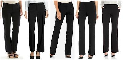 Apt 9 Modern Fit Straight Leg Dress Pants $24.99 (regular $48.00)  Liz Claiborne Sophie Secretly Slender Trouser Leg Pants $34.99 (regular $48.00)  The Limited Cassidy Collection Bootcut Pants $39.97 (regular $79.95)   Nine West Straight Leg Dress Pants $51.75 (regular $69.00)   Calvin Klein Classic Fit Suit Pant $59.93 (regular $89.00)