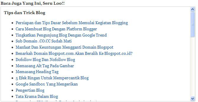 Cara Membuat dan Memasang Widget Artikel Terkait / Related Post Tanpa Tumbnail di Blog