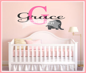 Initial/Name Elephant Wall Decal