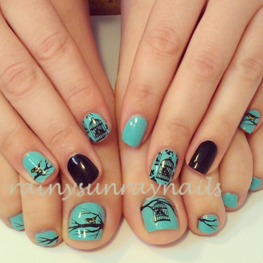 rainysunraynails: Feathered Friends Mani/Pedi. Bird Nail Art