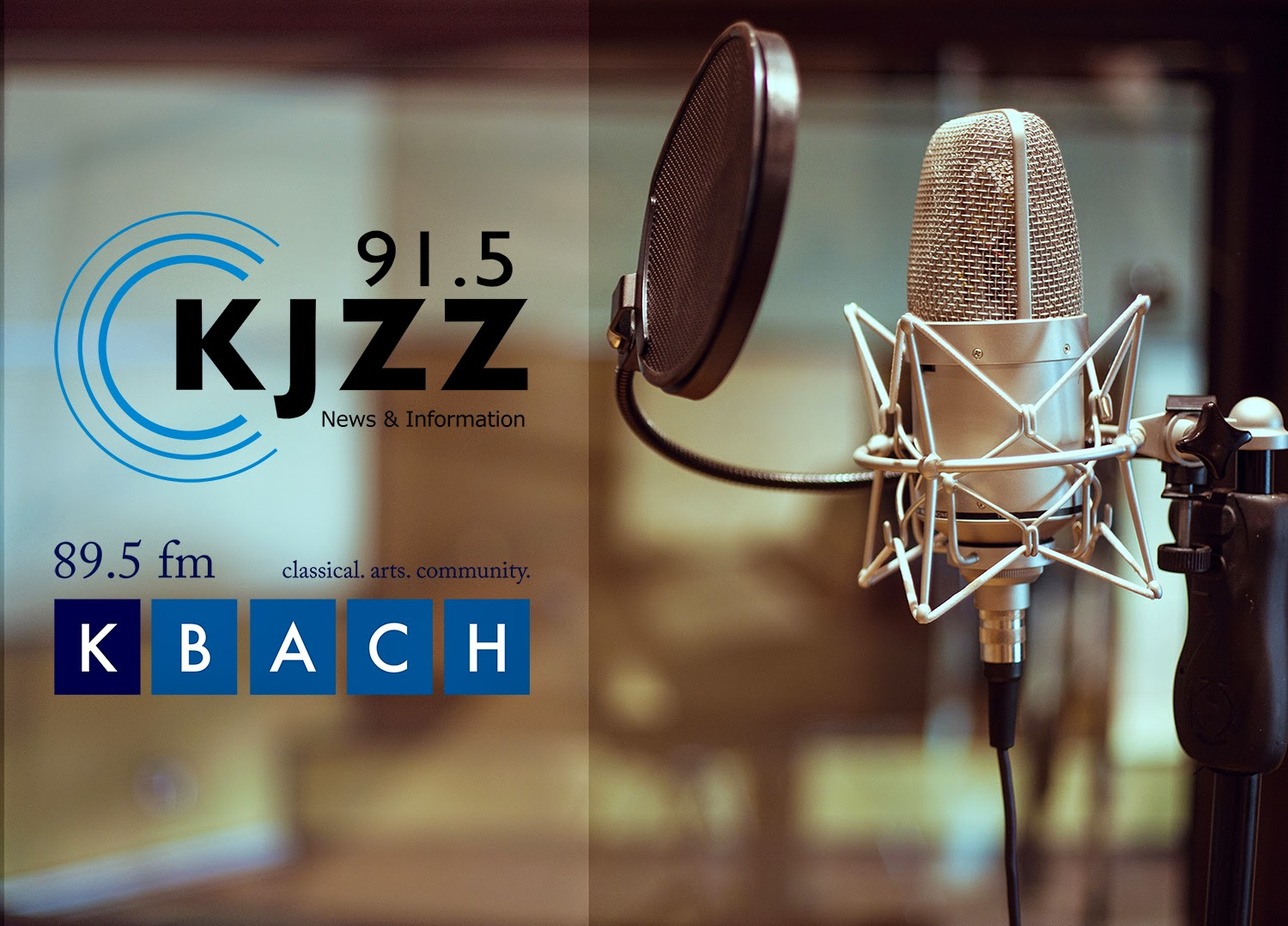 image of a studio microphone and KJZZ/KBACH logos