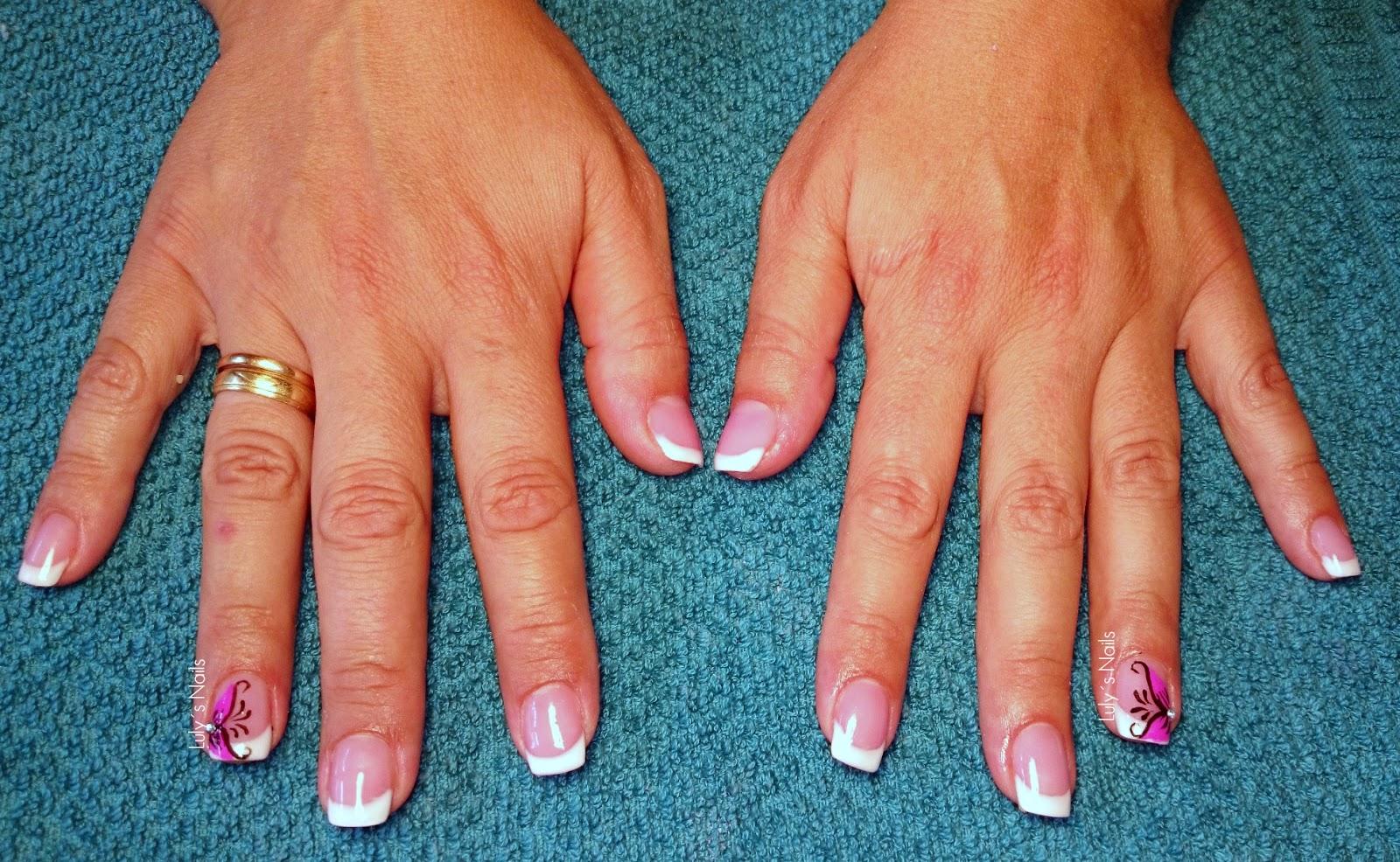 Luly\'s Nails: FRANCESA CON FLOR ROSA