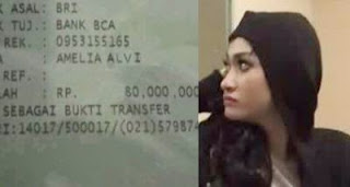 Beredar Foto Struk Bukti Transfer 80 Juta Atas Nama Amelia Alvi