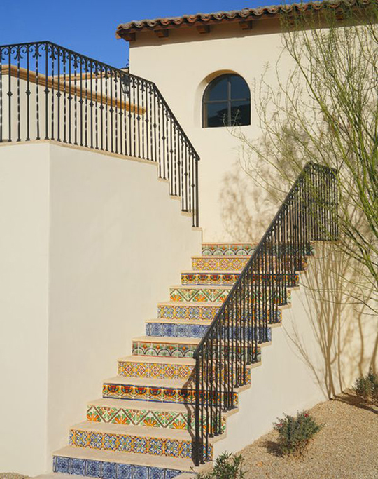 moroccan tiled staircase
