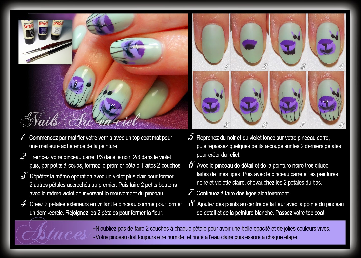 tuto nail art one stroke fleurs