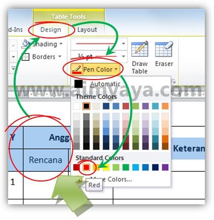 Gambar: Memilih warna garis / border tabel di Microsoft Word 2010 menjadi merah