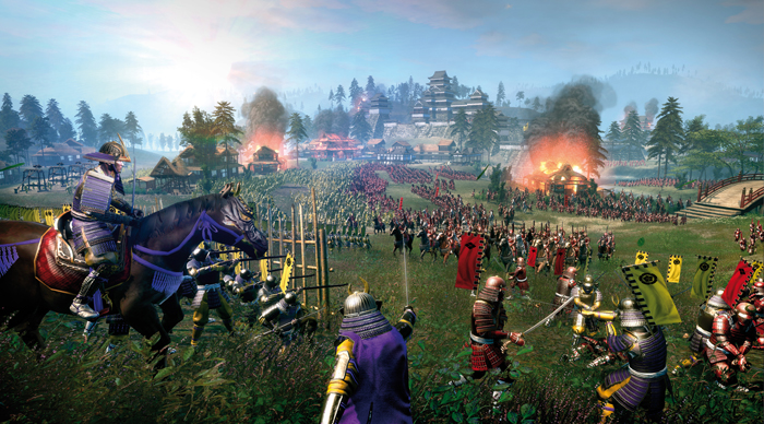 3 screenshots llenos de samurais de Shogun 2