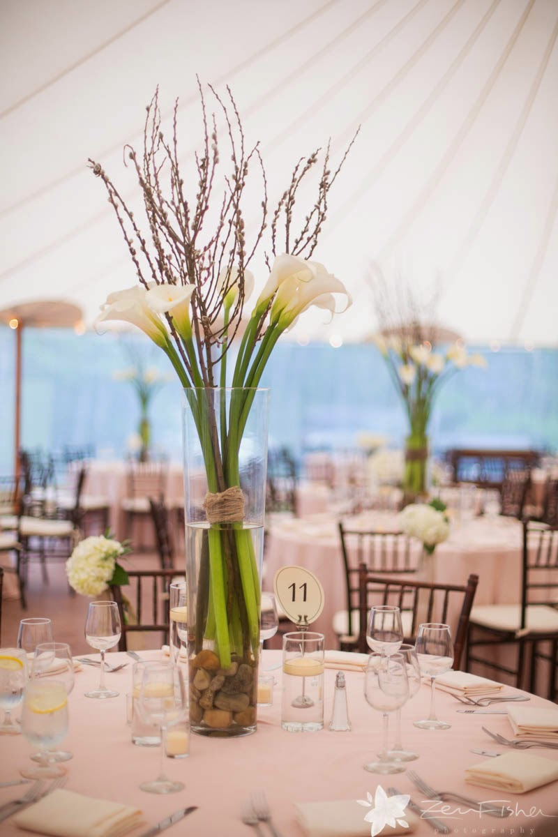willowdale estate : summer tent wedding : zev fisher photography : tall centerpieces : white calla lilies and pussy willow : les fleurs