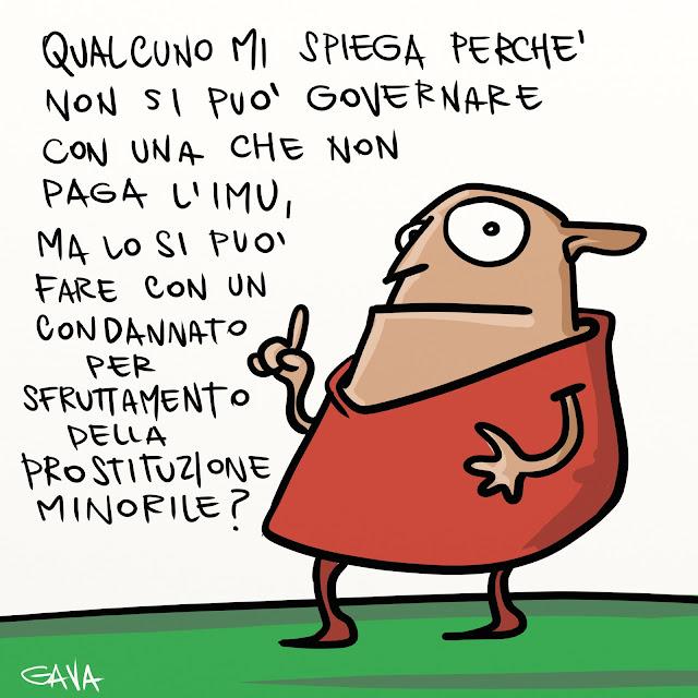 Gava gavavenezia satira vignette illustrazioni caricatura caricature ridere pensare piangere berlusconi pd pdl ruby prostituzione