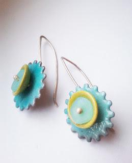robins egg blue gear earrings