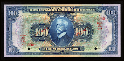Brazil Currency 100 Mil Reis Cruzado Cruzeiro Real Reais banknote bill