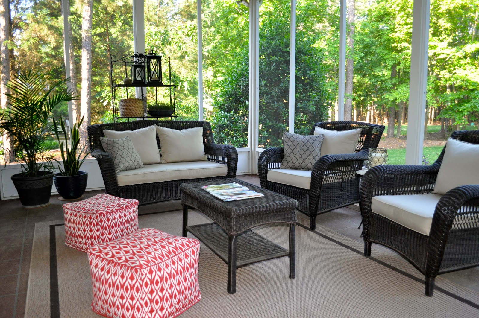 The collected interior a pop of color on the porch deck - Deck furniture ideas ...