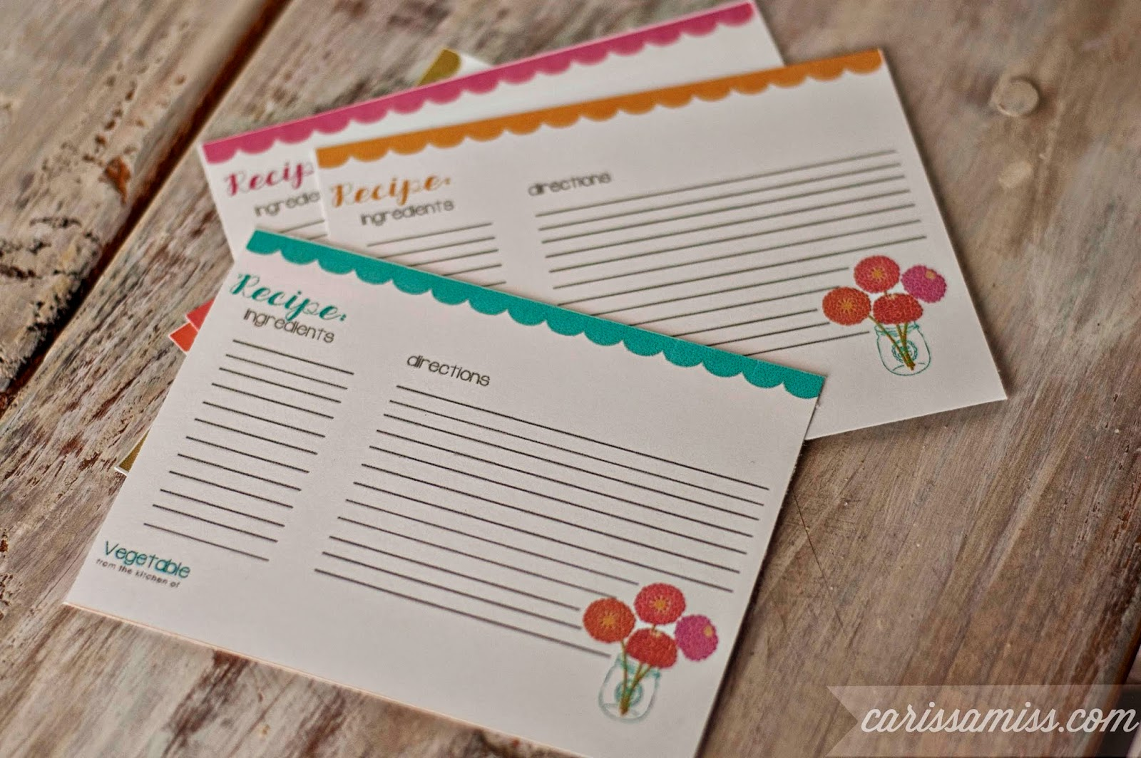 Carissa Miss: Printable Recipe Cards