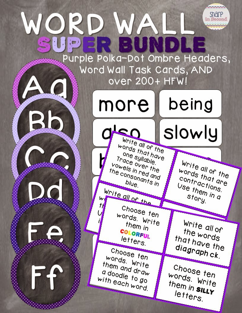 https://www.teacherspayteachers.com/Product/Word-Wall-Super-Bundle-Purple-Polka-Dot-Ombre-200-HFW-and-Task-Cards-1691325