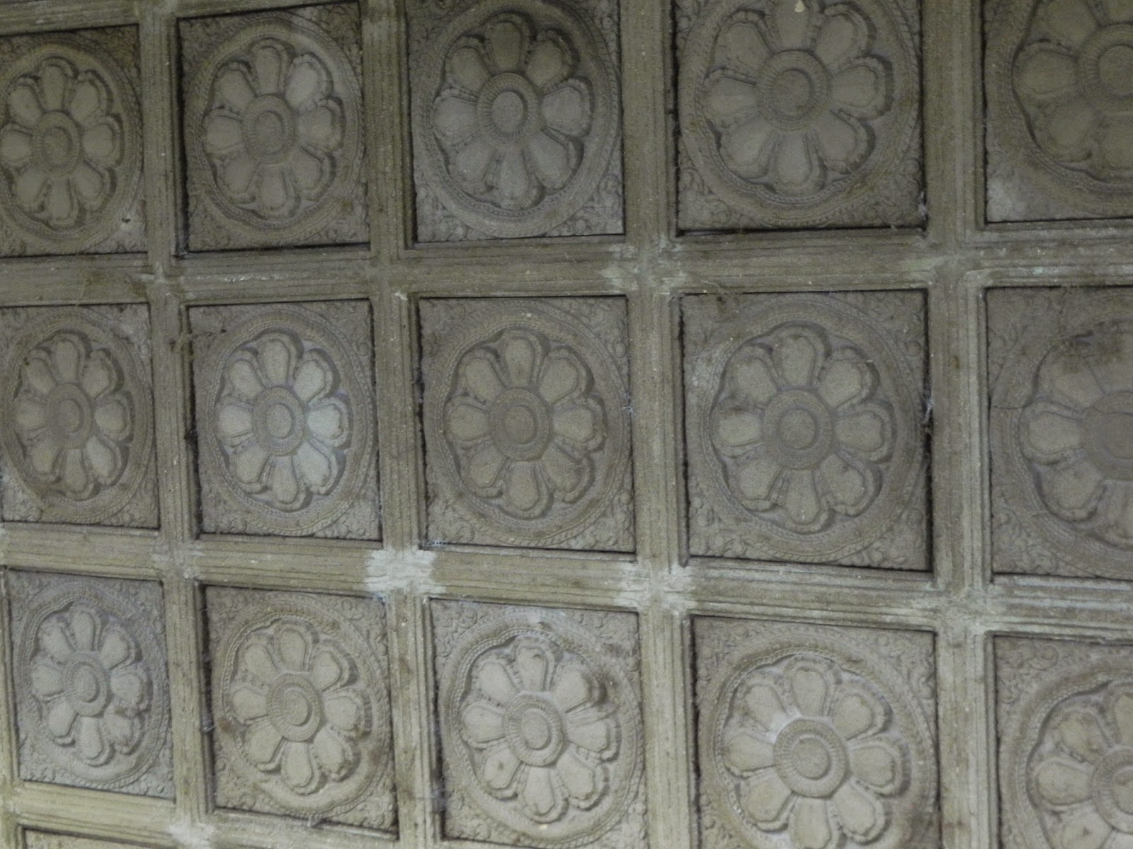 Carved lotus on the ceilings of the Angkor Wat Temple