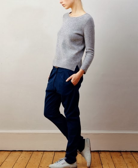 studio nicholson 2012 navy trousers with sneakers