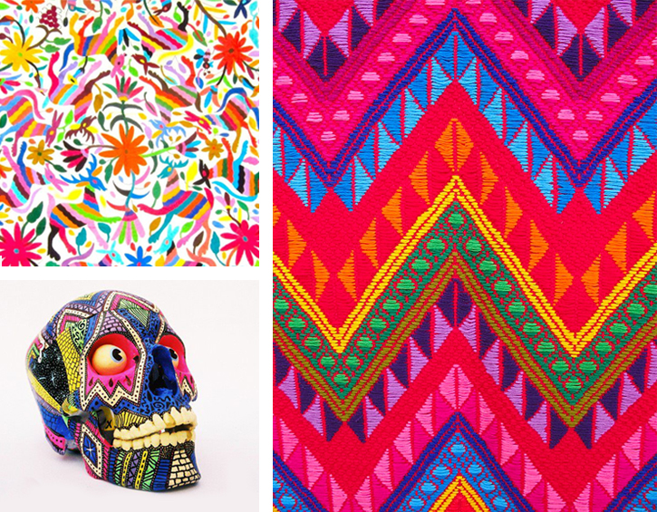 ethnic patterns, ethnic prints, mexican painted skull, mexican fabric,