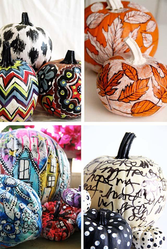 alisaburke aztec pattern painted pumpkins