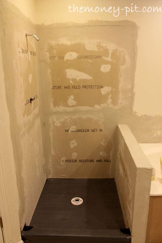 Master Bathroom Knee Wall master bathroom days 8-10: shower walls and final shower pan - the