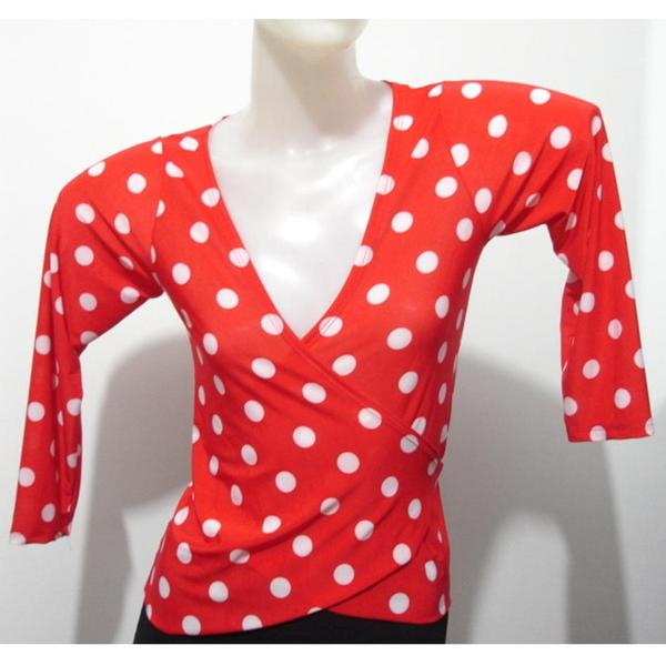 NEW_Blouse Gerbera BLE007-2 Black and white dots - U$ 55.00