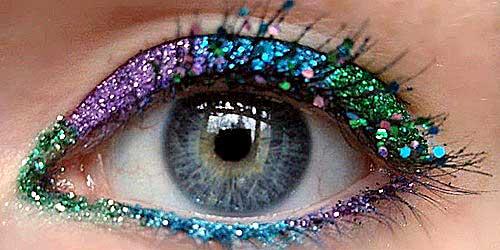 maquillaje ojos pestañas purpurina