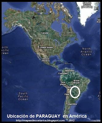 Ubicación de PARAGUAY en América, Vista Satelital
