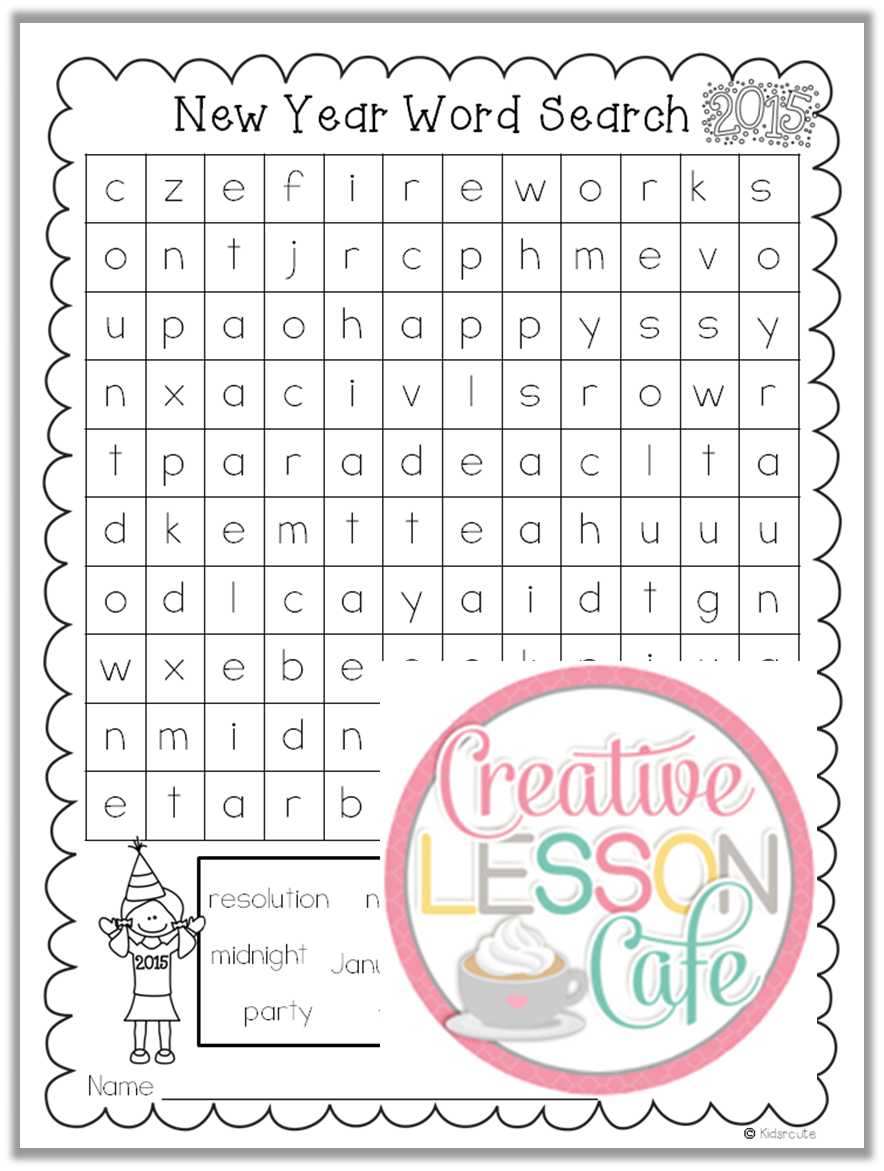 happy new year word search 2 levels by windupteacher teaching