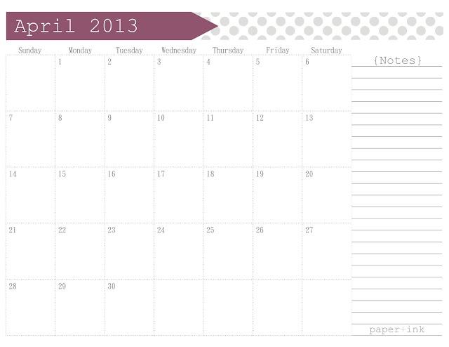 Calendar April 2013 : Free printable calendar april