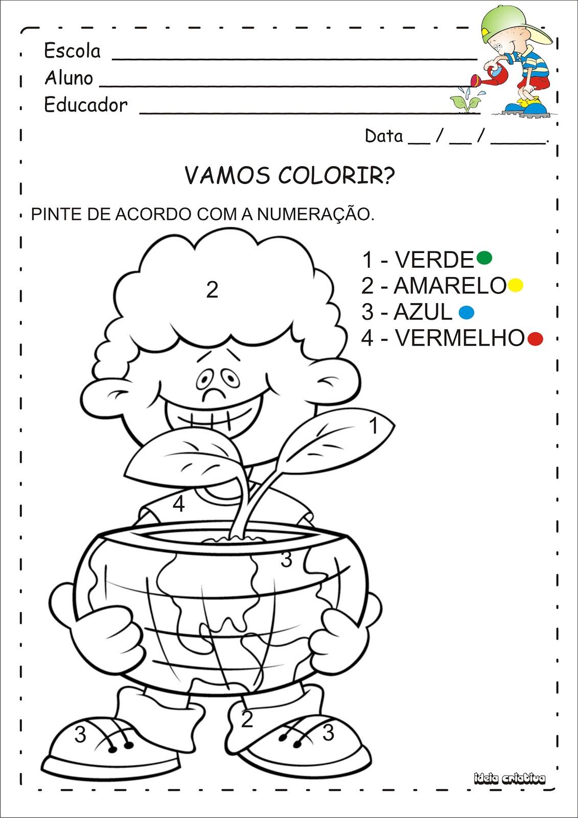 Super Atividade Meio Ambiente Pintura Numerada | Ideia Criativa - Gi  XZ42