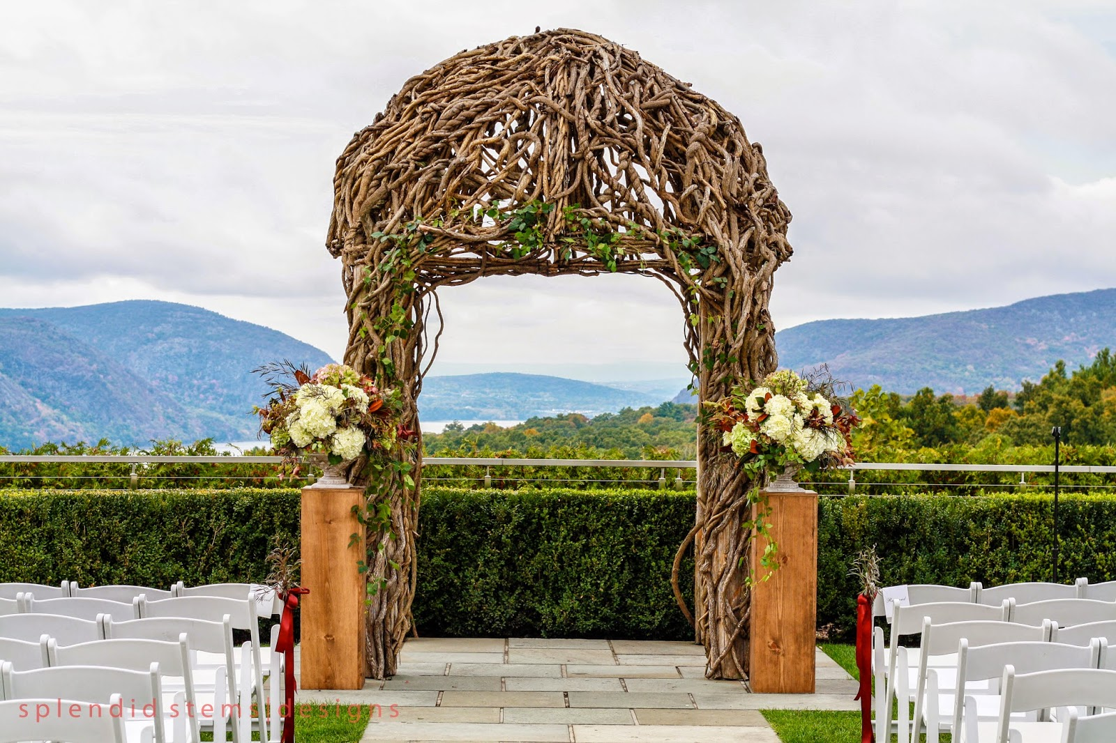 The Garrison Wedding Flowers - Wedding Arch - Ceremony Urns - Wooden Pedestals - Hudson Valley Weddings - NY Weddings