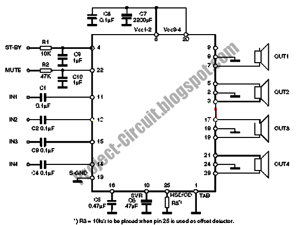 free project circuit diagram  tda7850 car power amplifier