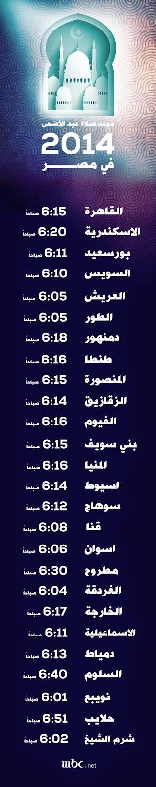 مواقيت صلاة عيد الاضحى المبارك مصر 2014 ميقات صلاة العيد الأكبر 1435 هجرية  وقت صلاة عيد الأضحى في مصر القاهرة و الجيزة و المحافظات adha prayer