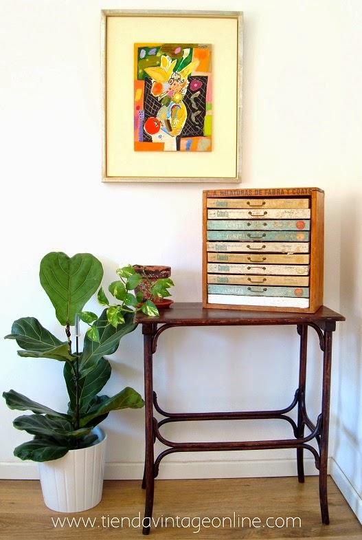 Cajonera vintage. muebles de madera vintage en valencia.