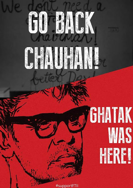 FTII, Ritwik Ghatak Poster, Strike, Students Protest, Gajendra Chauhan