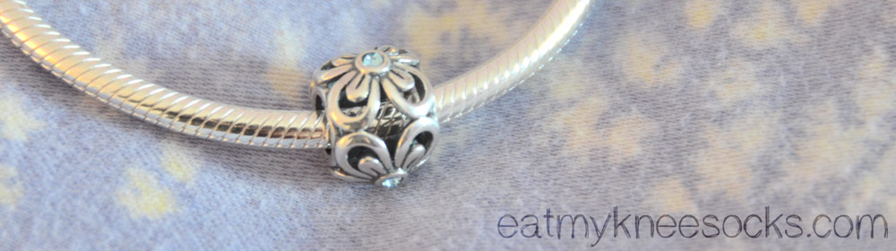 I especially love the light blue rhinestone on the four leaf flower charm from Soufeel.