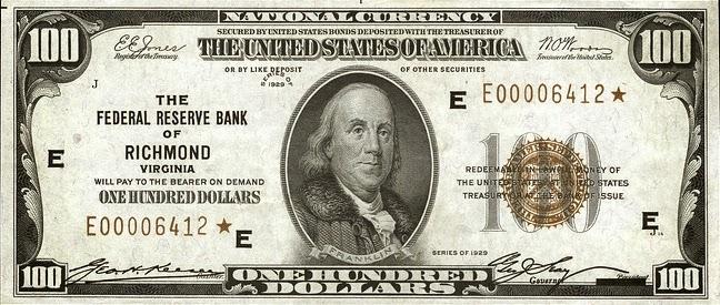 100 долларов США, Резервный банк в Ричмонде, Вирджиния