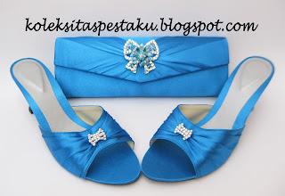 Paket Matching Tas Pesta Biru Tua Mewah Elegant Cantik