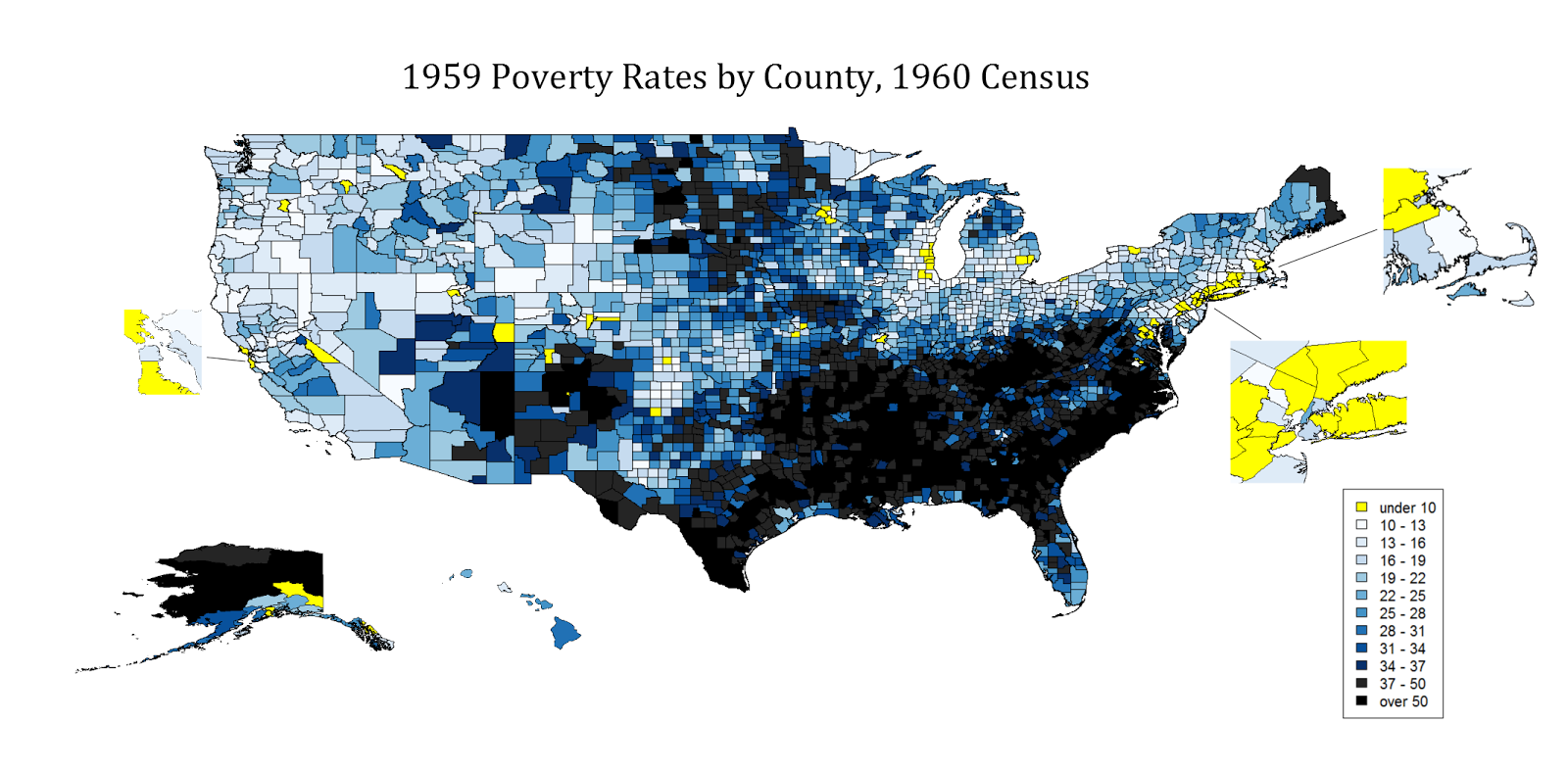 County Level Poverty Rates In The 1959 United States
