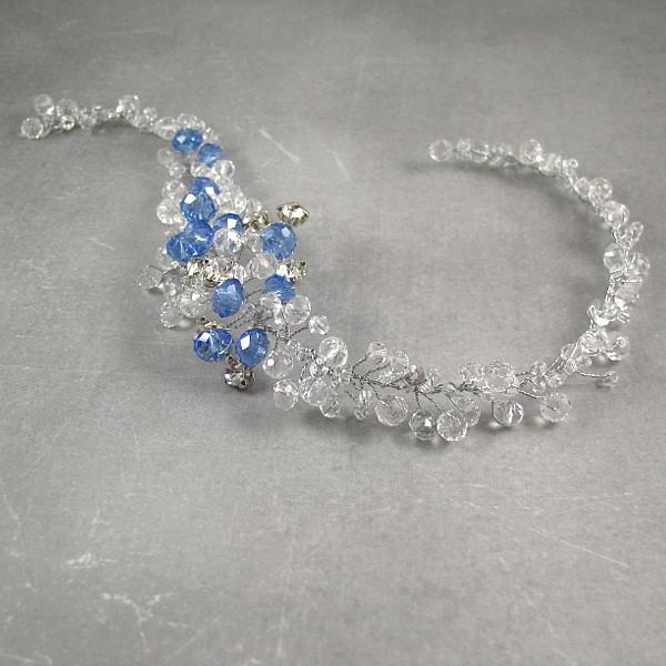 Spinka ślubna do włosów, niebieska