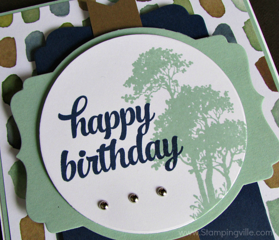 Close-up photo of Serene Silhouettes trees with Tin of Cards birthday greeting.