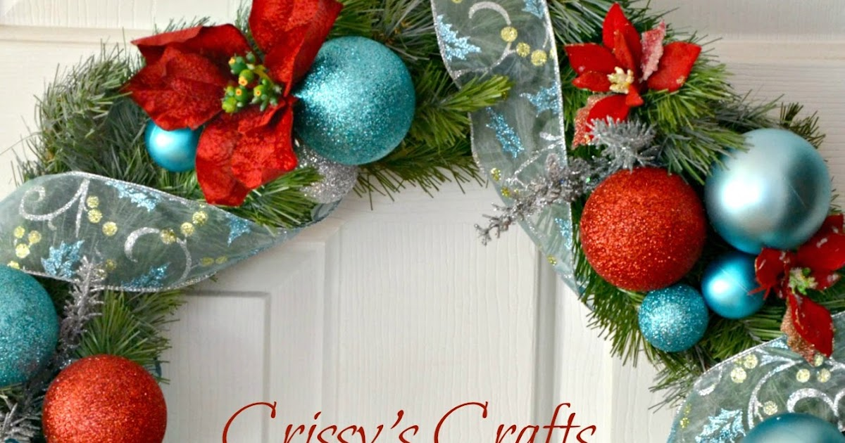 Crissy 39 s crafts red and aqua holiday wreath - Admirable christmas wreath decorating ideas to welcome the december ...