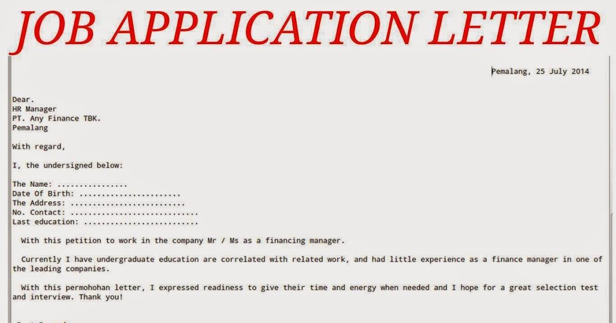 Job Application Letter Sample For Business