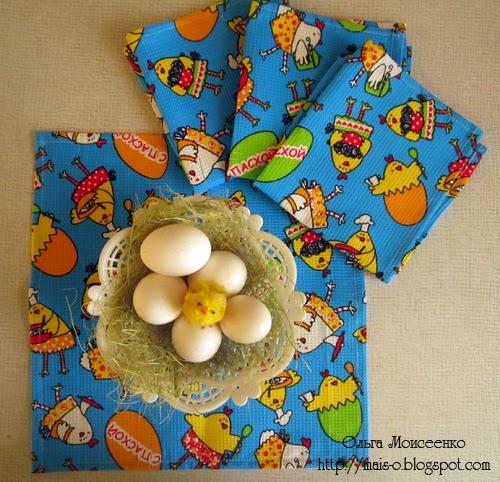 пасхальный декор, текстильные салфетки, вафельные салфетки к пасхе
